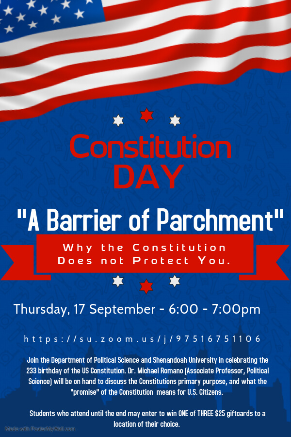 Constitution Day 2020 - A Barrier of Parchment, Thursday, Sept 17, 6-7 p.m.