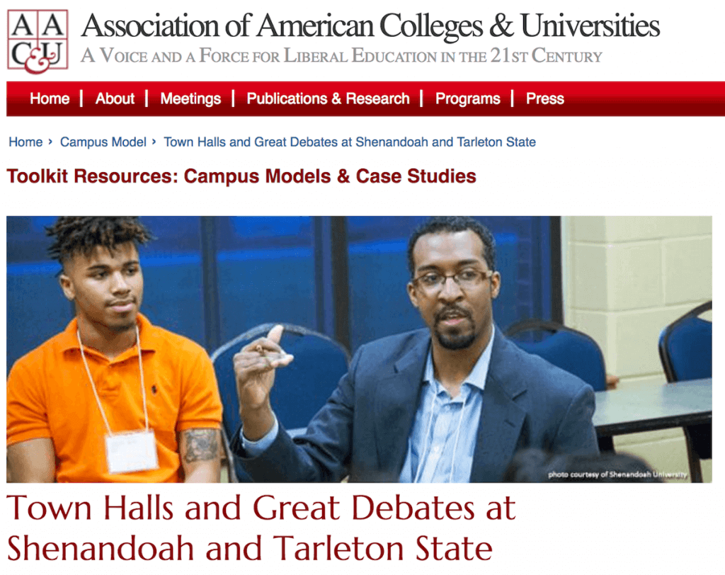 Shenandoah's General Education Town Hall program featured in national publication.