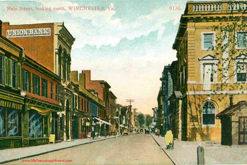 VA-Winchester-Virginia-Main-Street-Looking-North-vintage-postcard