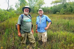 Photo of Shenandoah University Professor of Environmental Studies and Biology at Woodward Bousquet, Ph.D., (left) and Virginia Natural Heritage Program Vegetation Ecologist Gary Fleming (right).