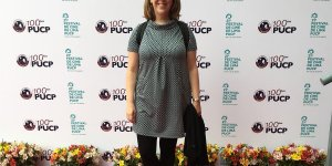 Photo of Associate Professor of Hispanic Studies Andrea Smith, Ph.D., at the Lima Film Festival