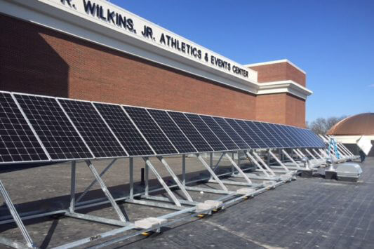 Solar Panels on roof of Wilkins Athletics & Events Center
