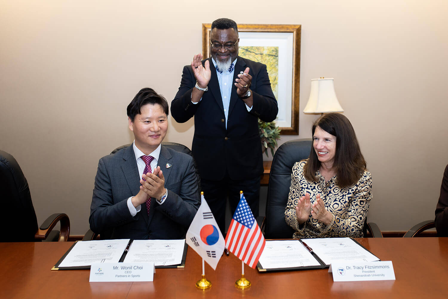 Creating Opportunities in South Korea for Students Shenandoah University and Partners in Sports, from Seoul, South Korea, sign a memorandum of understanding