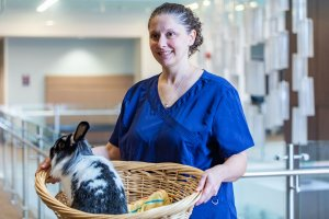 Shenandoah University Assistant Professor of Nursing Beth Ballenger with one of her therapy bunnies (in a basket).